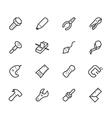 engineer tools black icon set on white back vector image