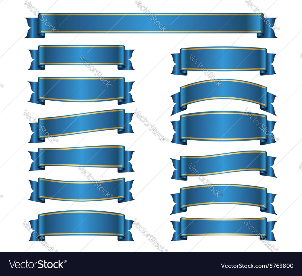 Ribbon banners set blue vector