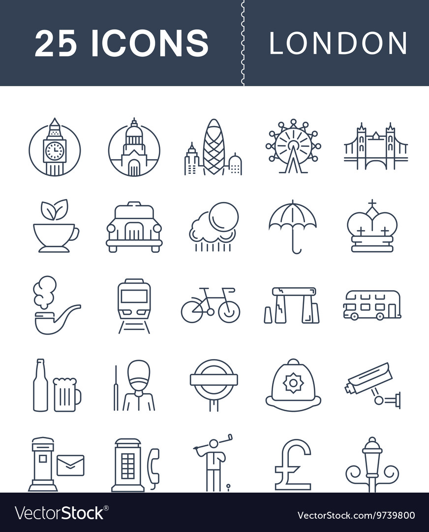 Set flat line icons london vector
