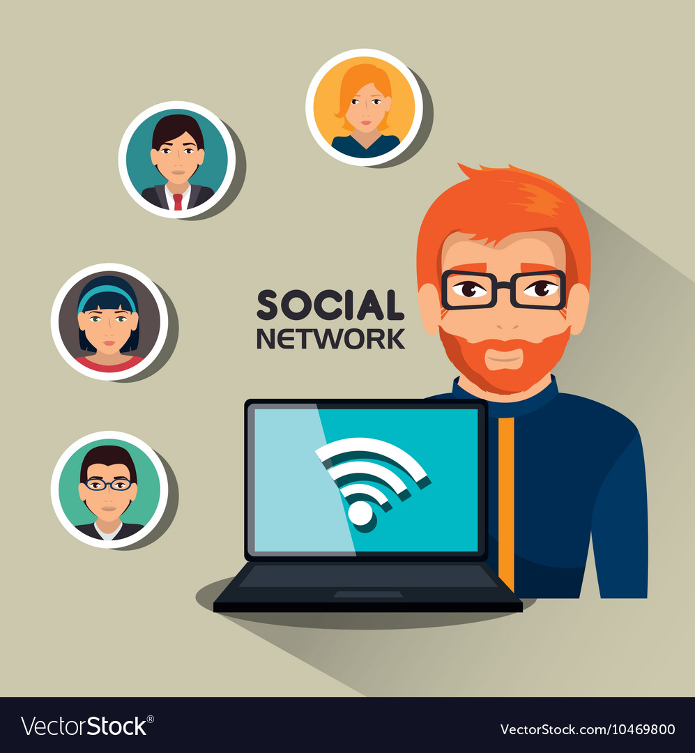Social network media isolated icon vector
