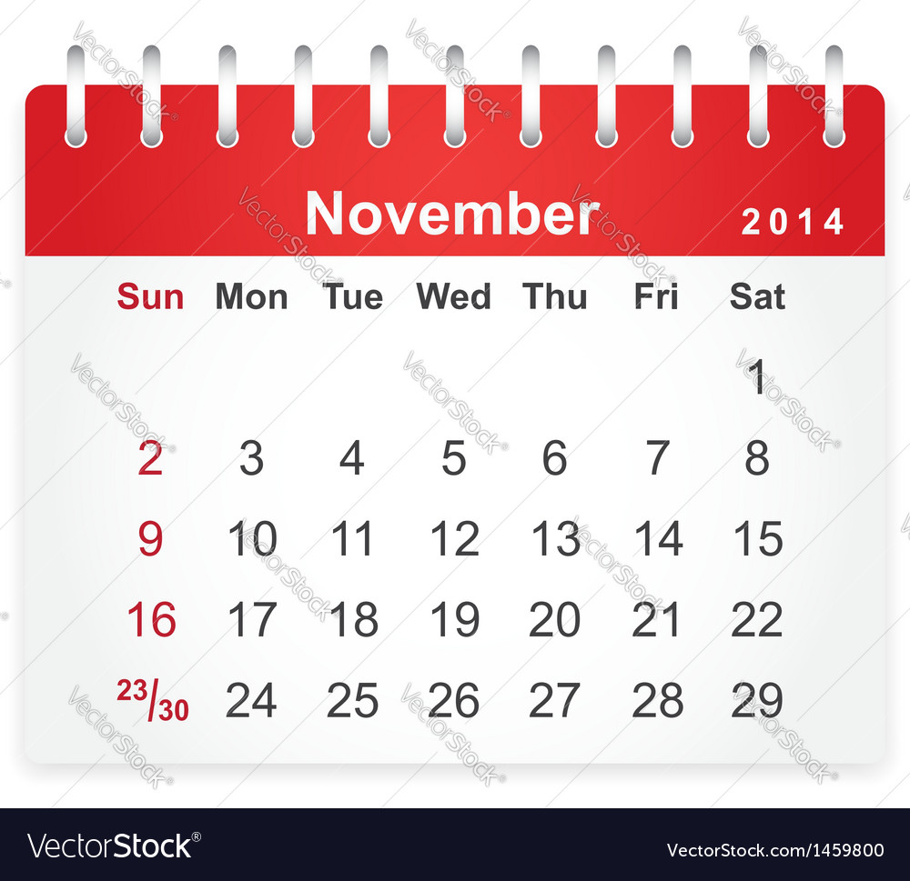 Stylish calendar page for november 2014 vector