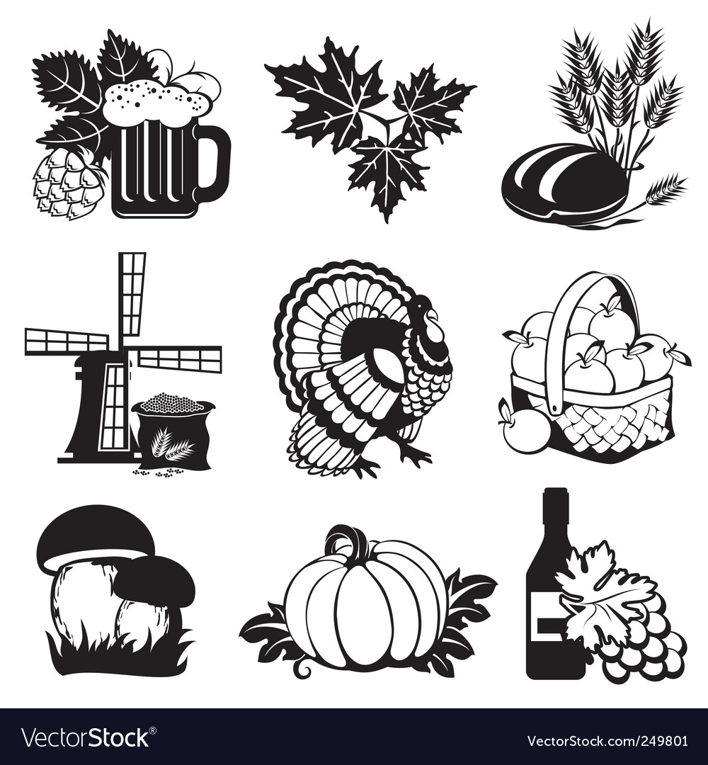 Autumn icons vector