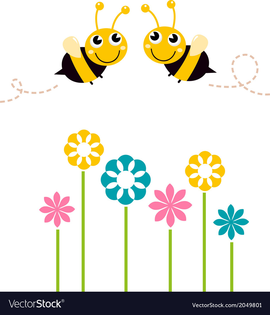 Cute beautiful bees with colorful flowers vector