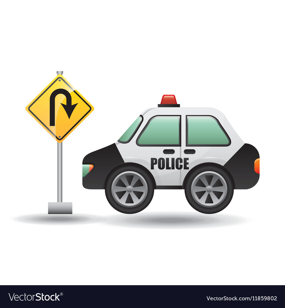 Car police with uturn road vector