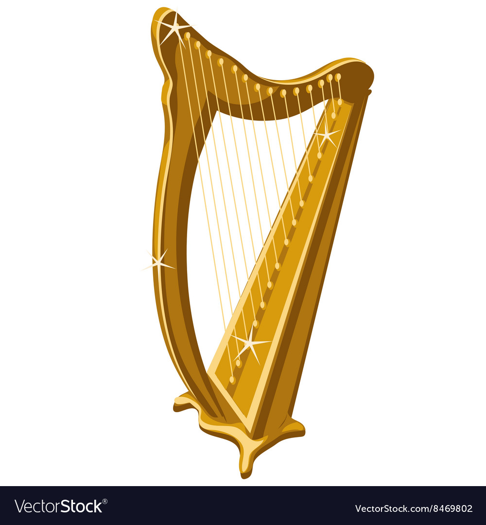 Classic gold sparkle harp cartoon style vector