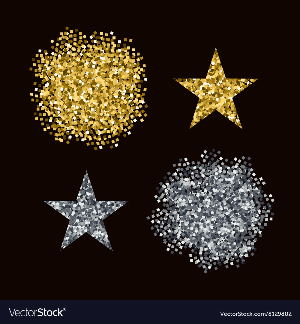 Editable brushes golden and silver glitter vector