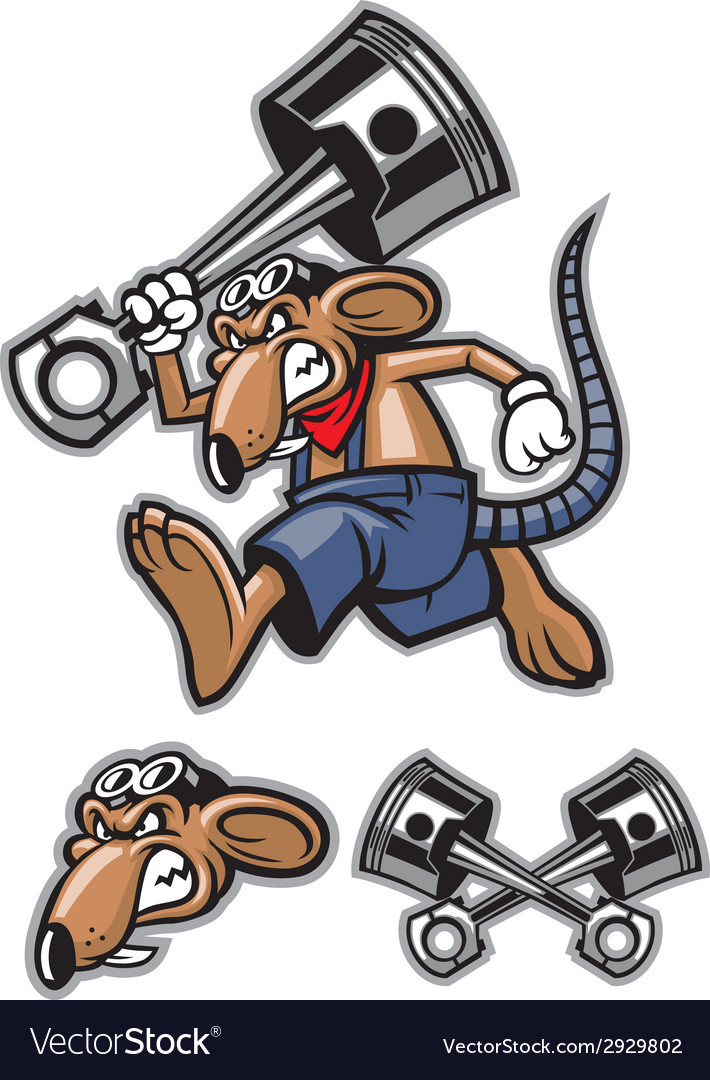 Rat mascot holding a big piston vector