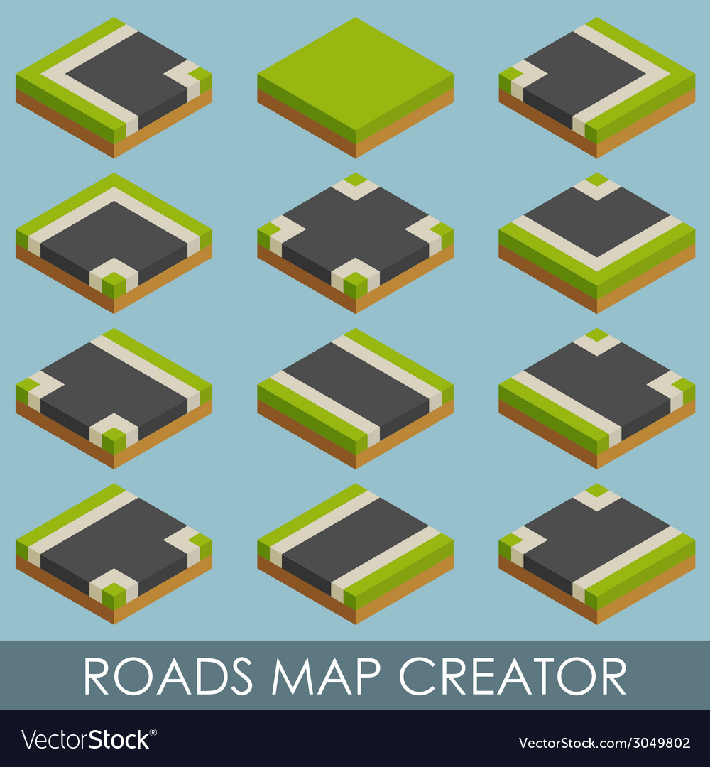 Roads map creator isometric vector