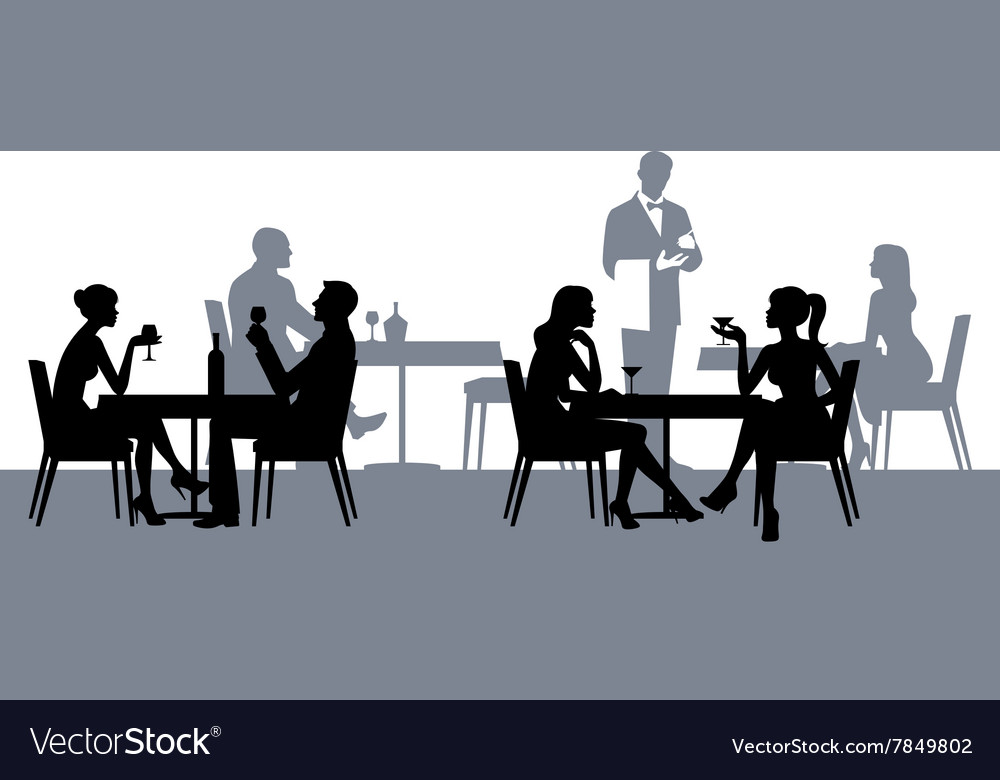 Silhouettes of people in the restaurant or cafe vector