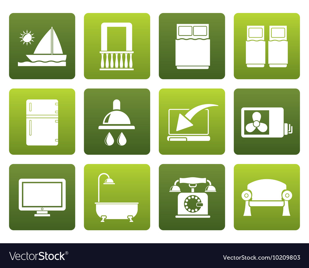 Flat hotel and motel room facilities icons vector