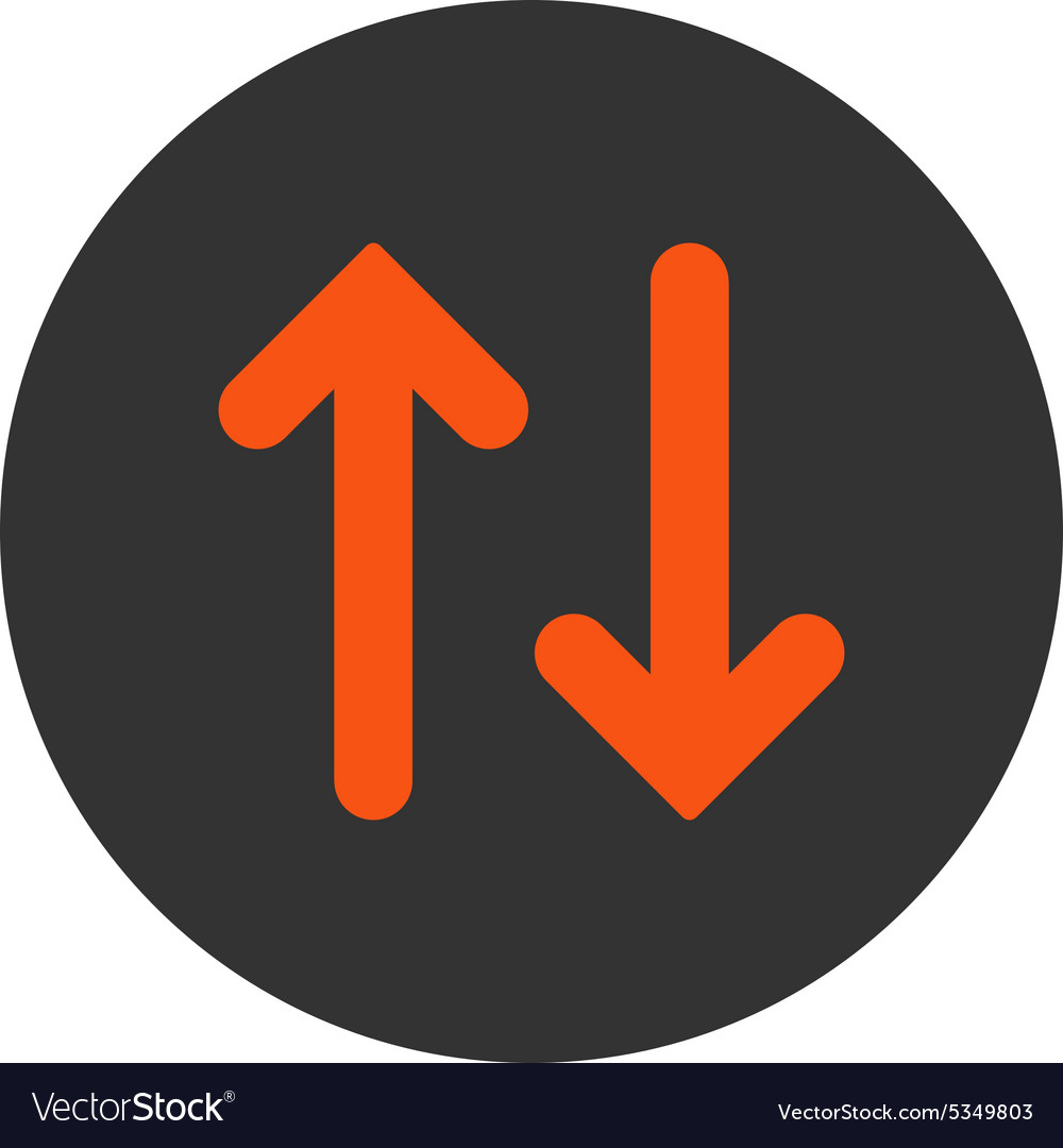 Flip flat orange and gray colors round button vector