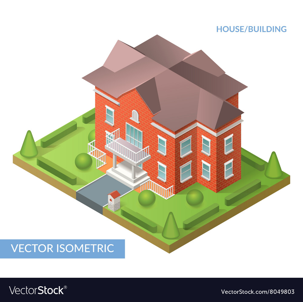 Isometric house and building vector
