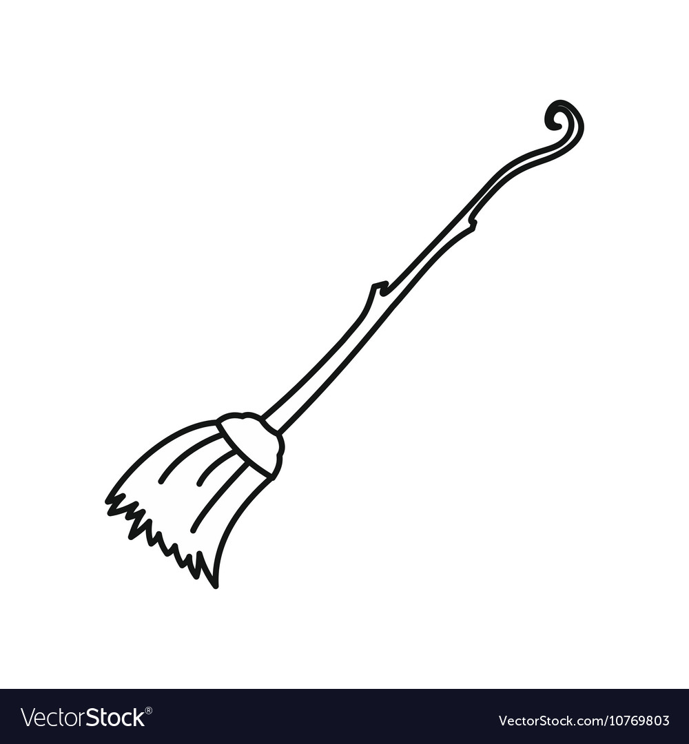 Witch broom icon outline style vector