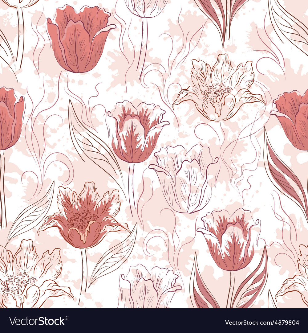 Seamless floral background tulips vector