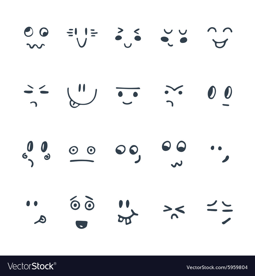 Sketched facial expressions set set of hand drawn vector