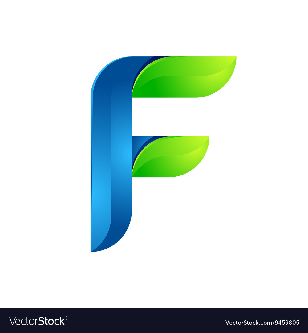 F letter leaves eco logo volume icon vector