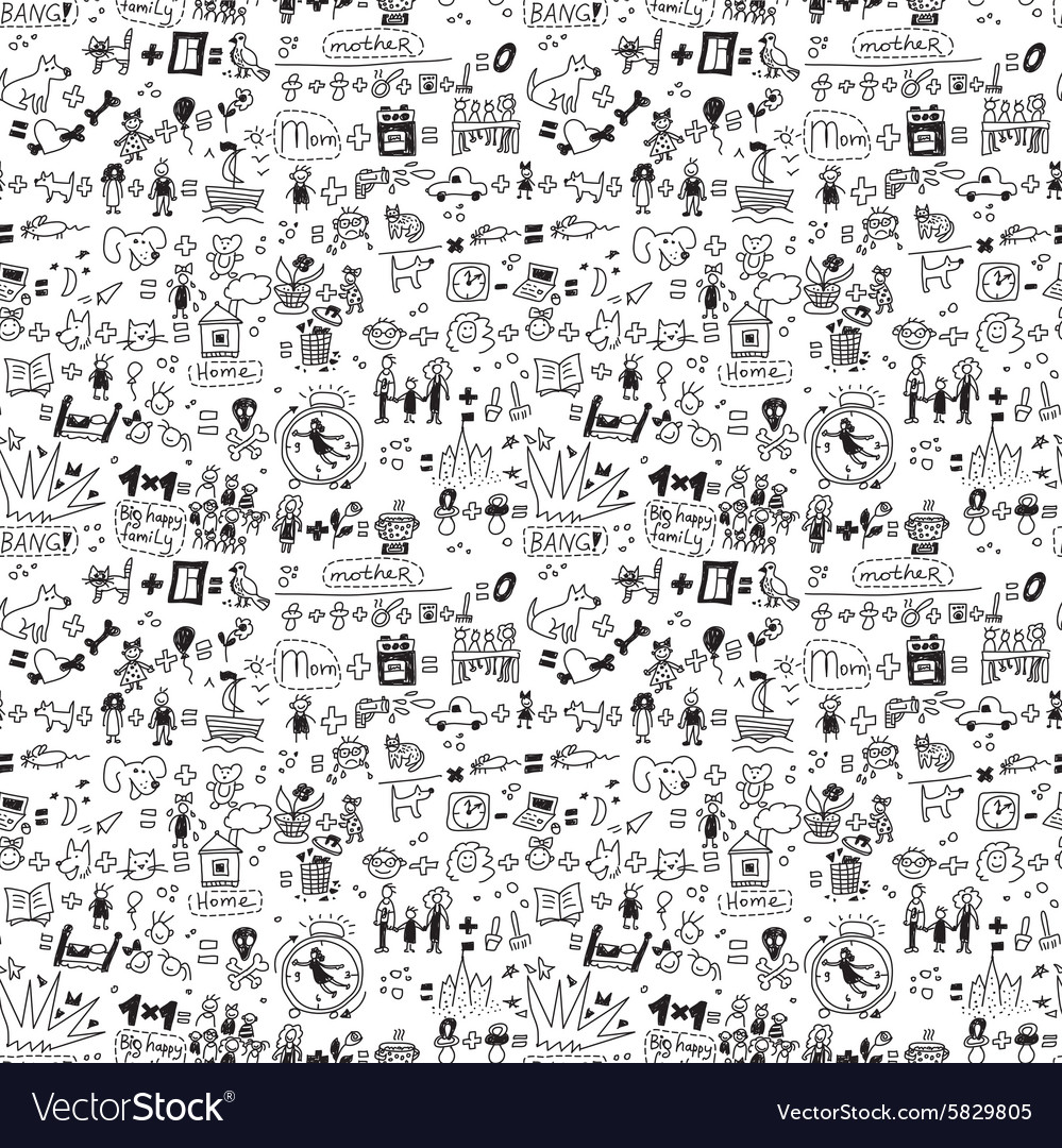 Family seamless pattern child and pets monochrome vector