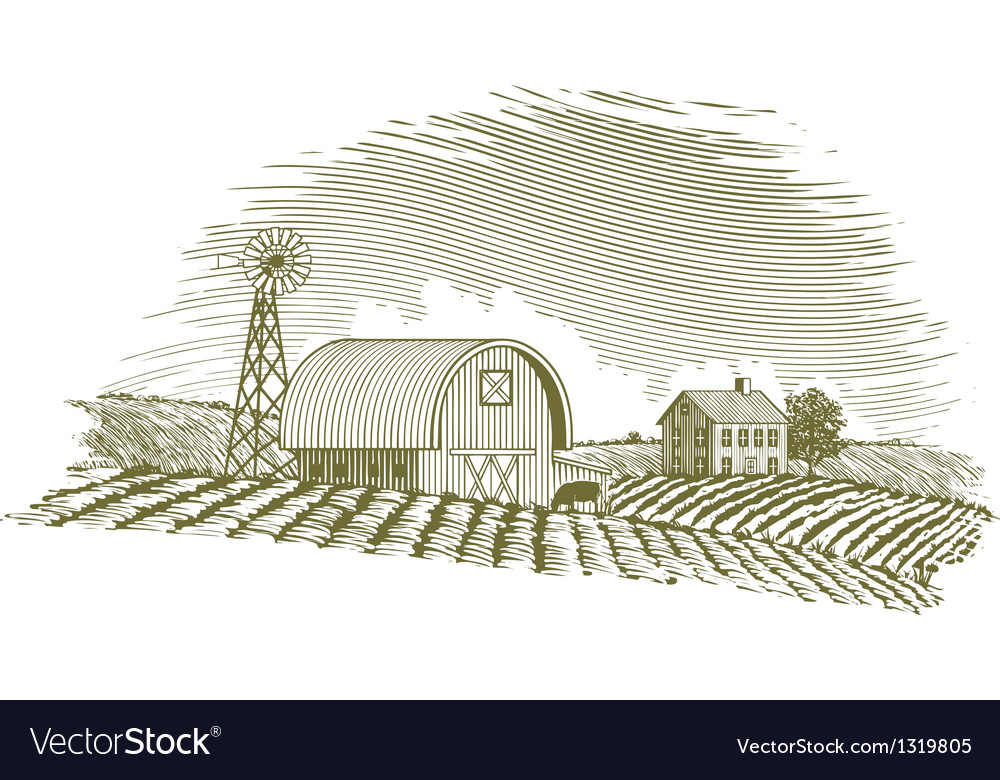 Woodcut barn and windmill vector
