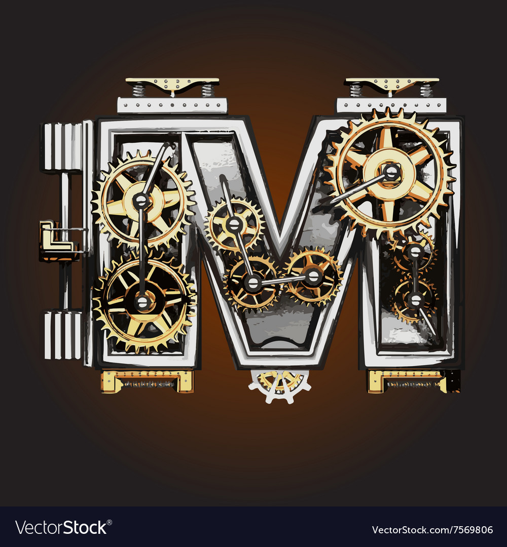 M letter with gears vector
