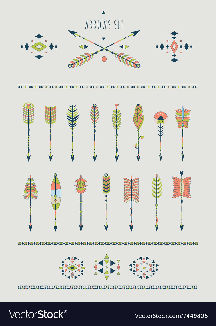 Set of arrows dream catchers indian elements vector