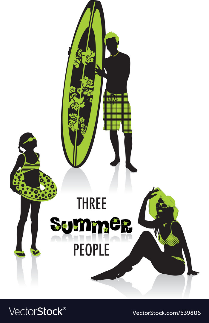 Summer people silhouettes vector