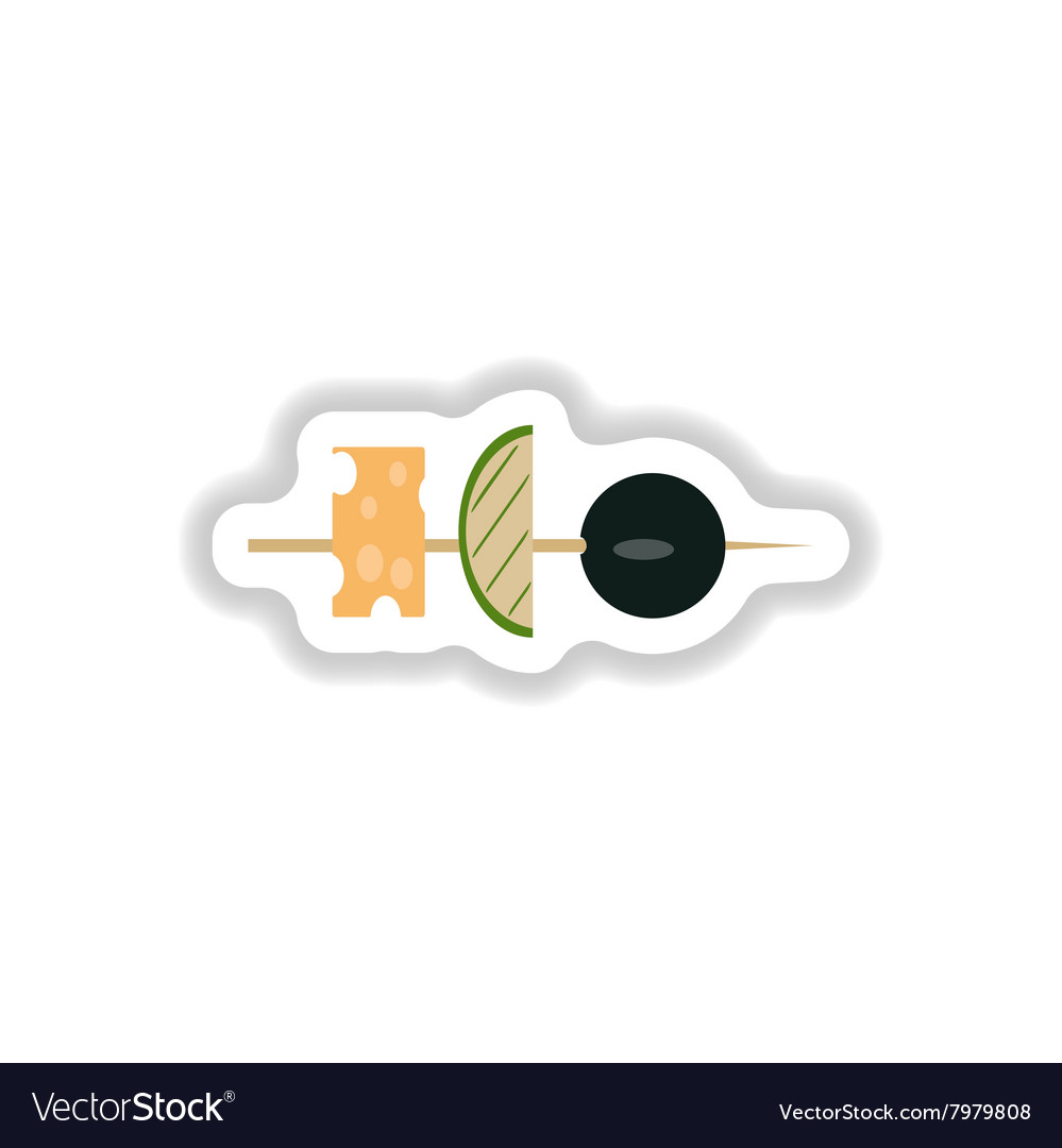 Stylish paper sticker vegetables and cheese vector