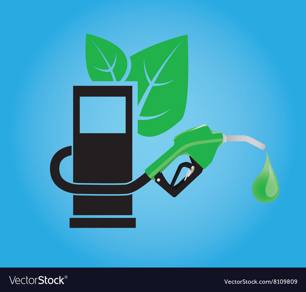Biofuel concept with gasoline pump and green leaf vector