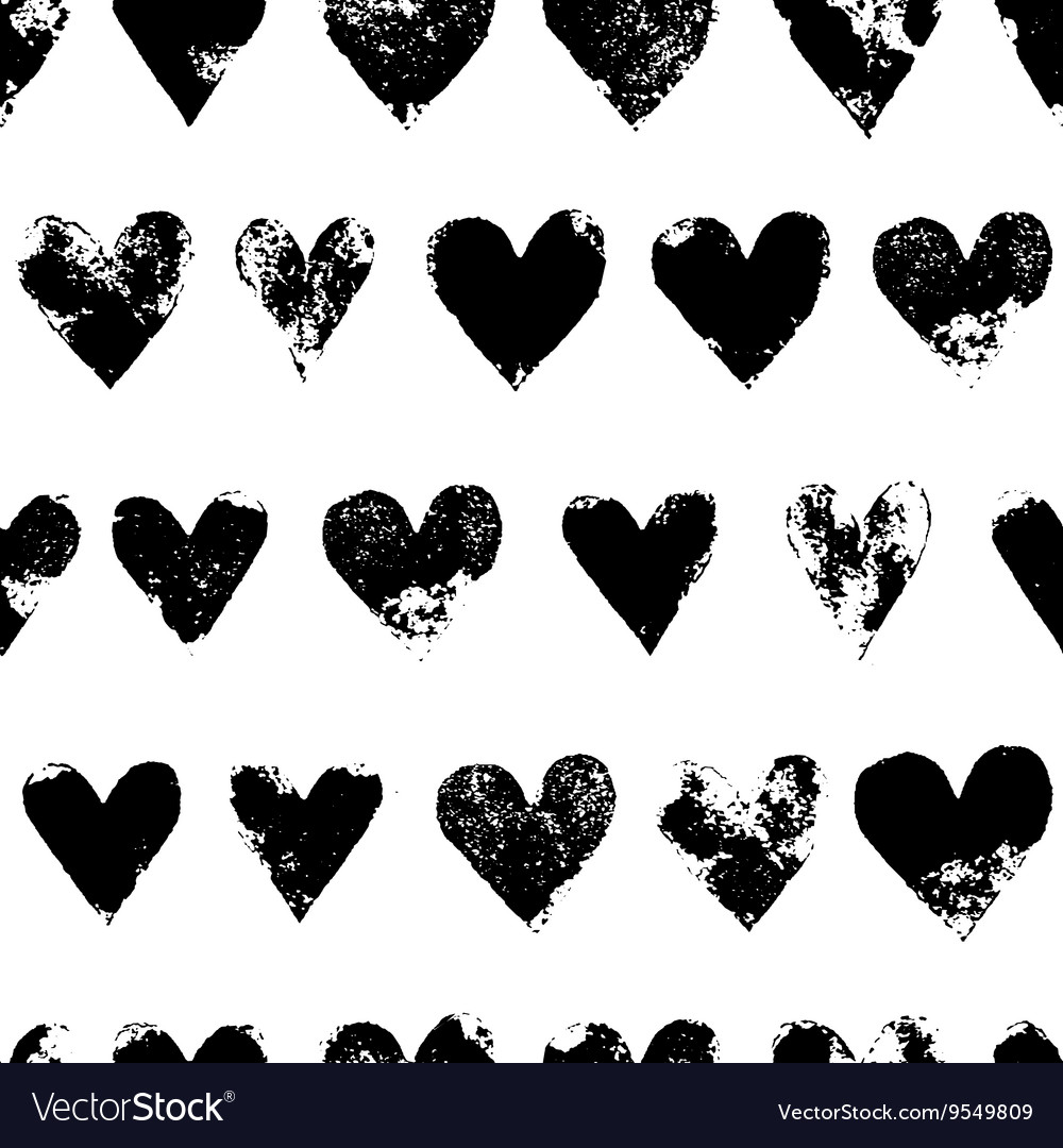 Black and white grunge hearts print seamless vector