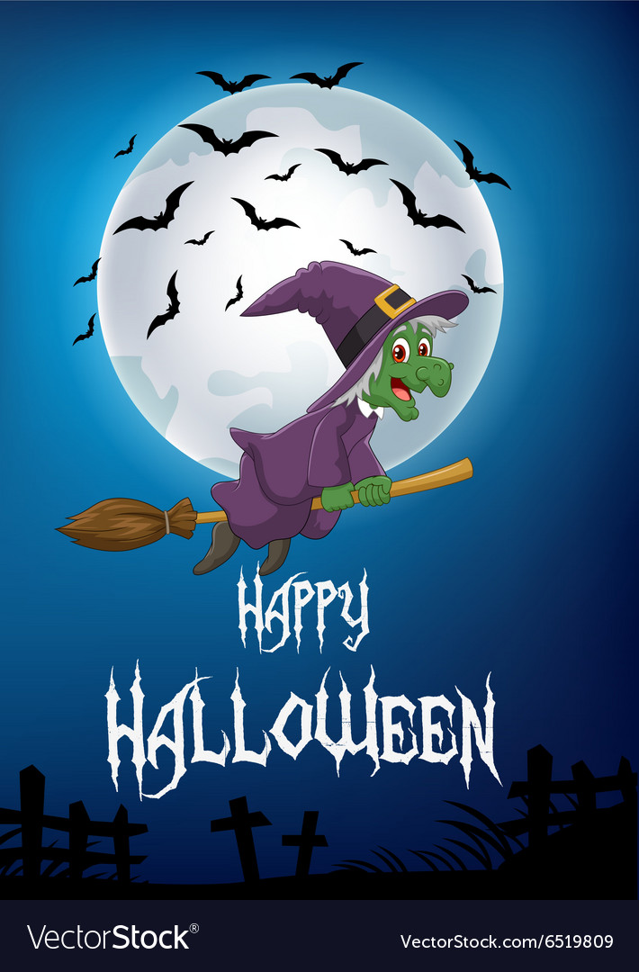 Witch riding broom vector