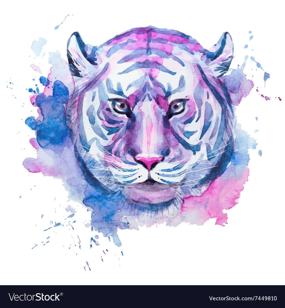 Watercolor raster tiger vector
