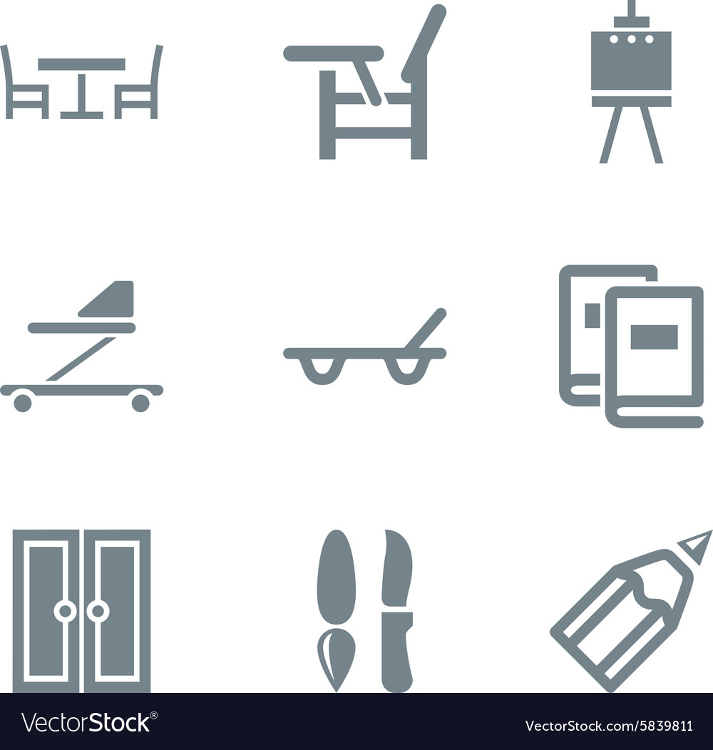 Home stuff icon set gray vector
