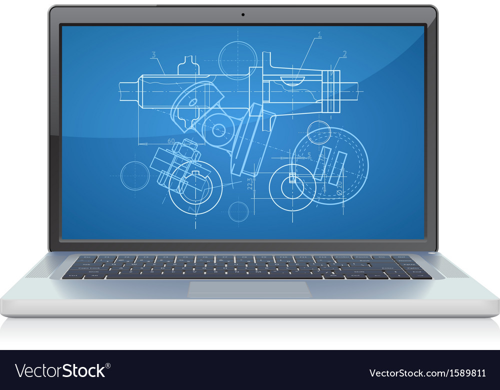 Laptop frontal cad systems vector