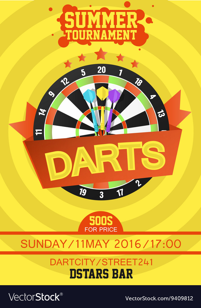 Colorful poster template for darts vector