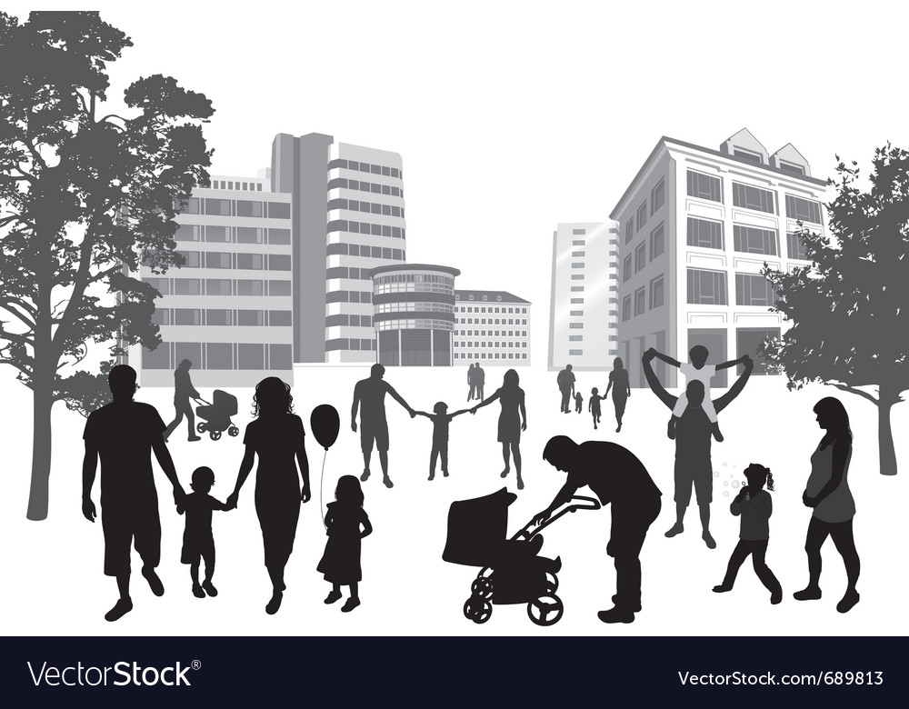 Families walking in the town vector