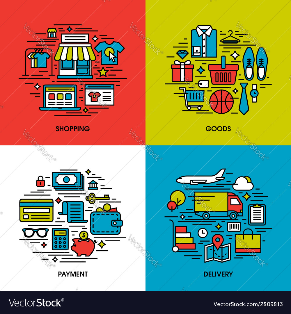 Flat line icons of shopping goods payment delivery vector