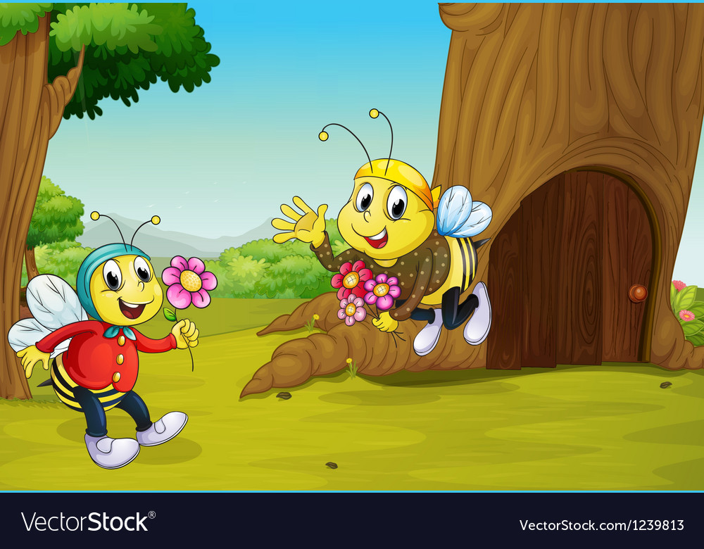Two bees near a treehouse vector
