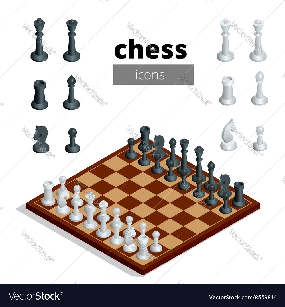 Chess icons flat 3d isometric vector