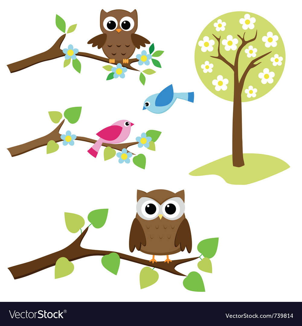 Set of nature elements vector