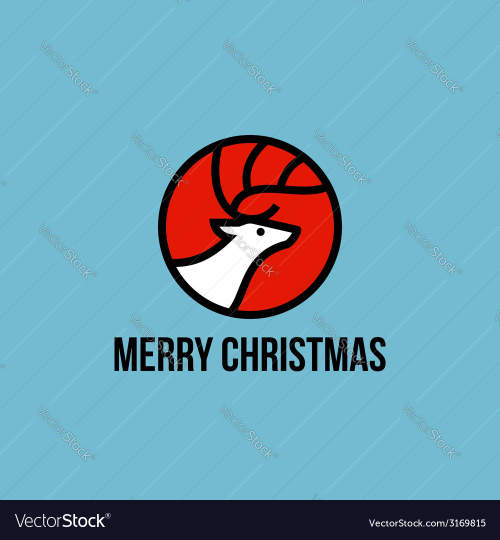 Christmas elk flat line icon vector