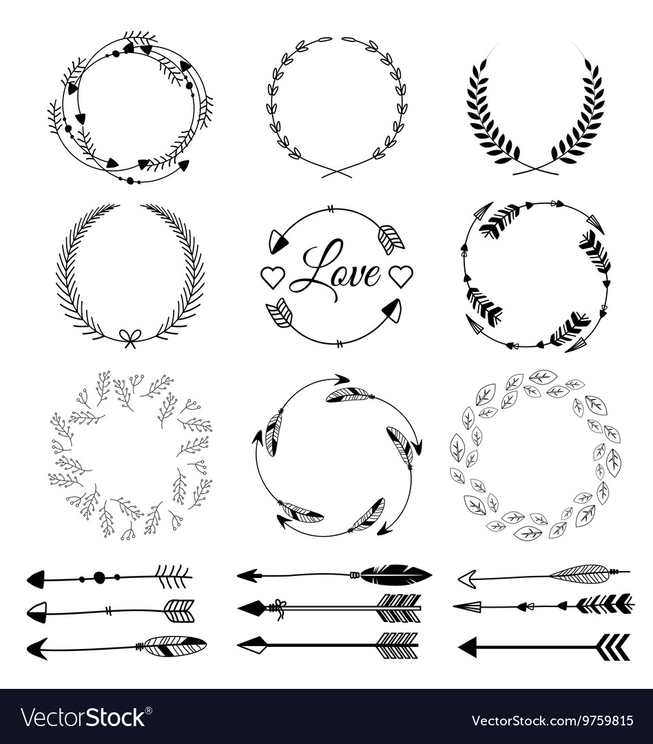 Set of hand drawn arrows tribal designs vector
