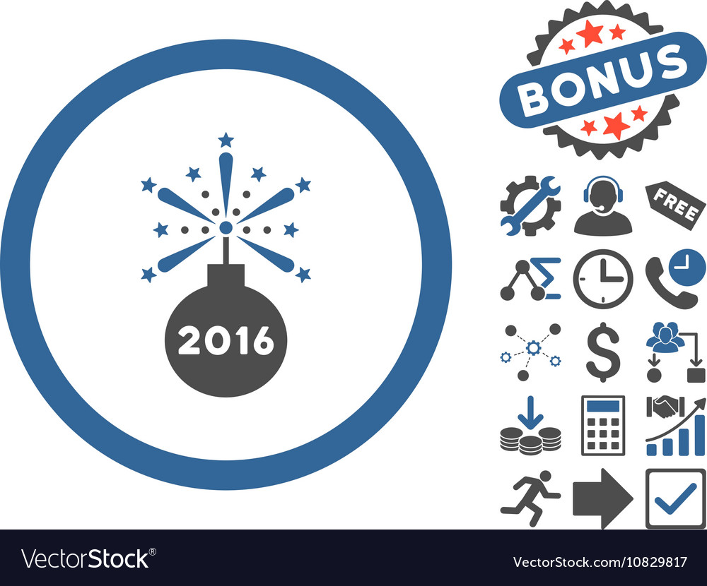 2016 fireworks detonator flat icon with vector