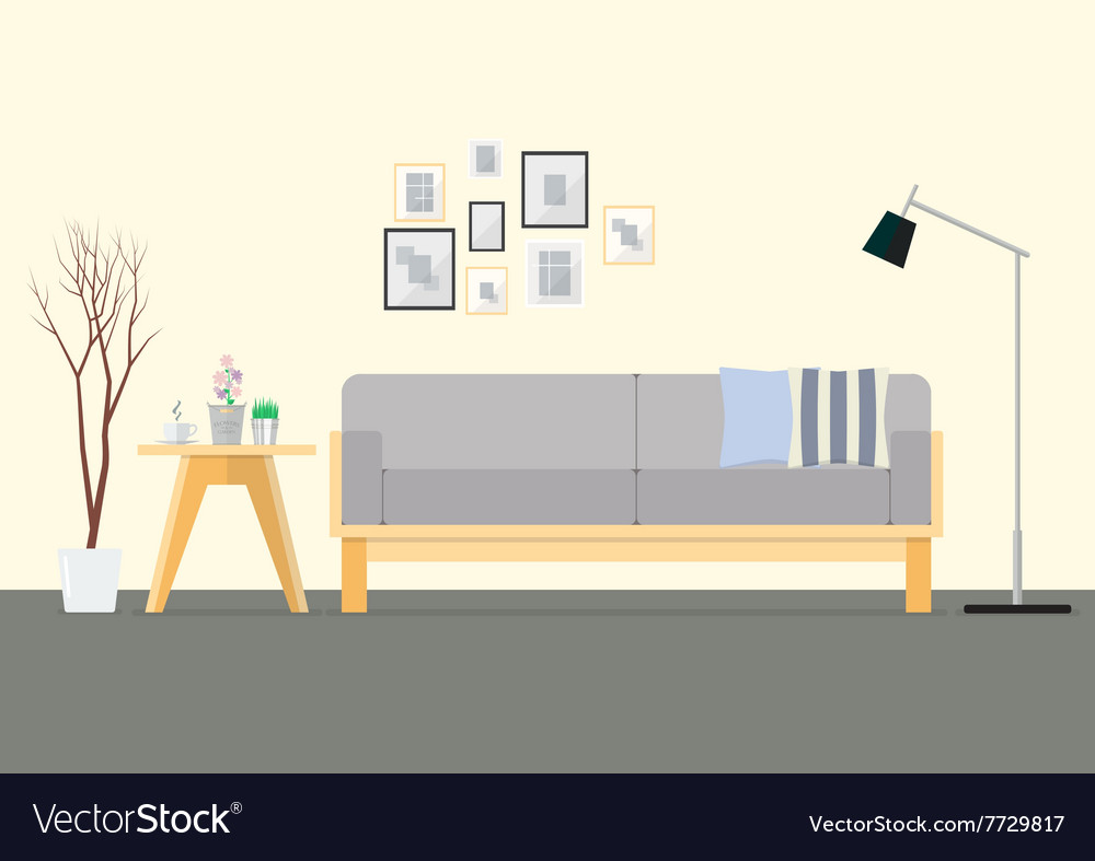 Flat design interior living room vector