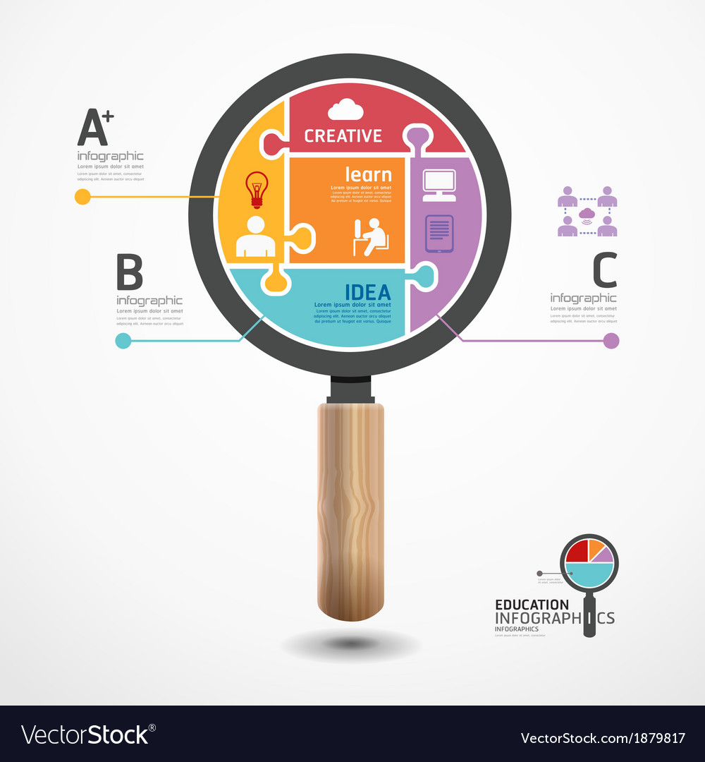 Infographic template with magnifier jigsaw banner vector