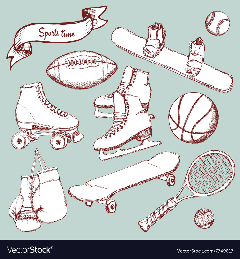 Sports set with balls and equipment vector