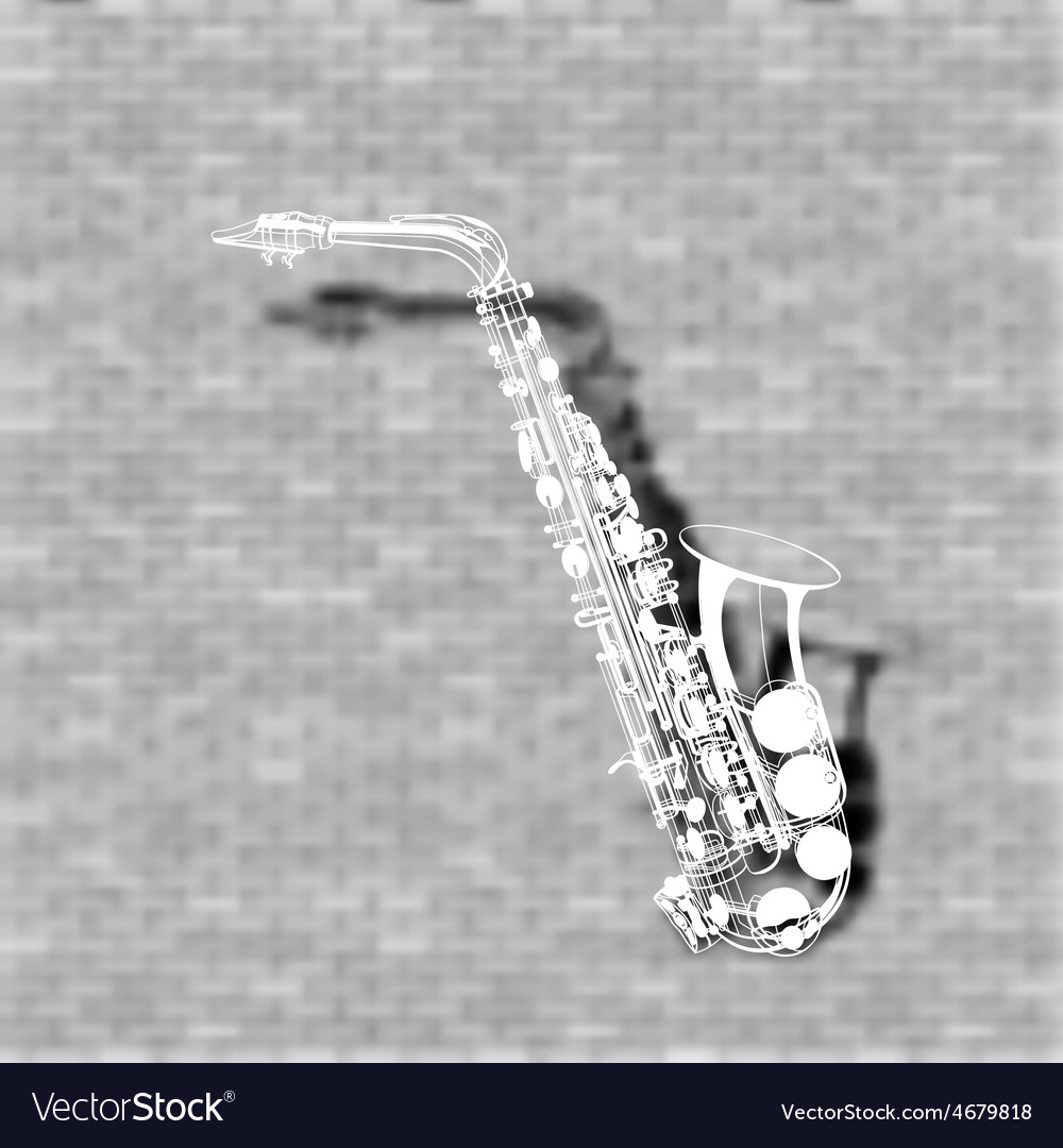 Saxophone on a brick wall background vector