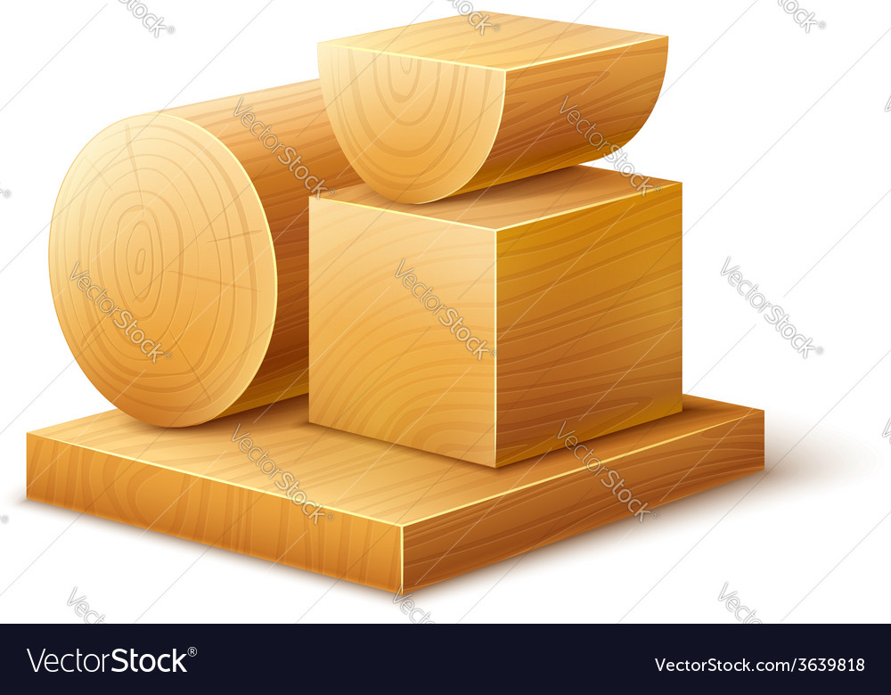 Woodworks wooden workpieces vector