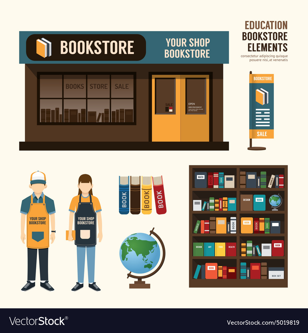 Bookstore set design shop store package tshirt ca vector