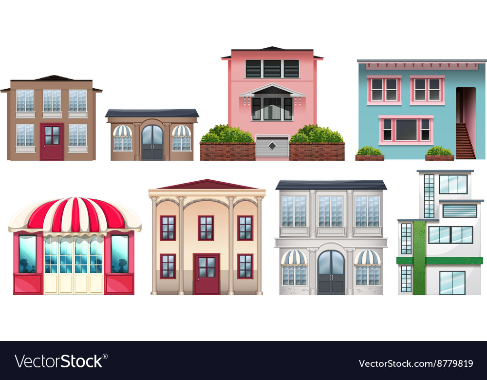 Different design of shops and houses vector