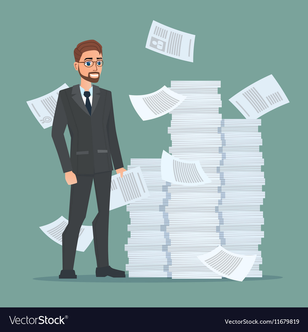 Paperwork and overworked of an employee engaged in vector