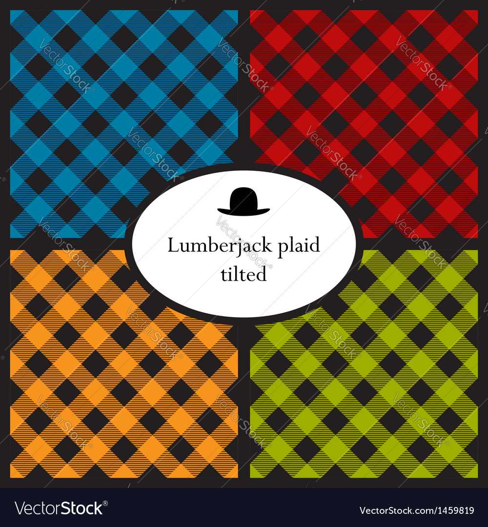 Set of tilted lumberjack plaid patterns vector